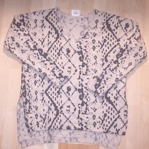 Anthropologie tan and black snake Printed sweater